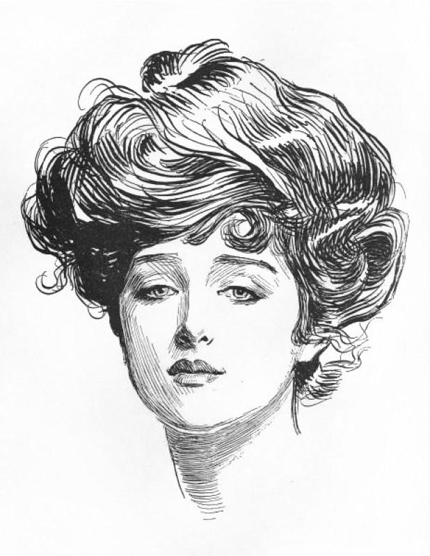 """Um retrato """"Gibson Girl"""" de Charles Dana Gibson, 1891."""