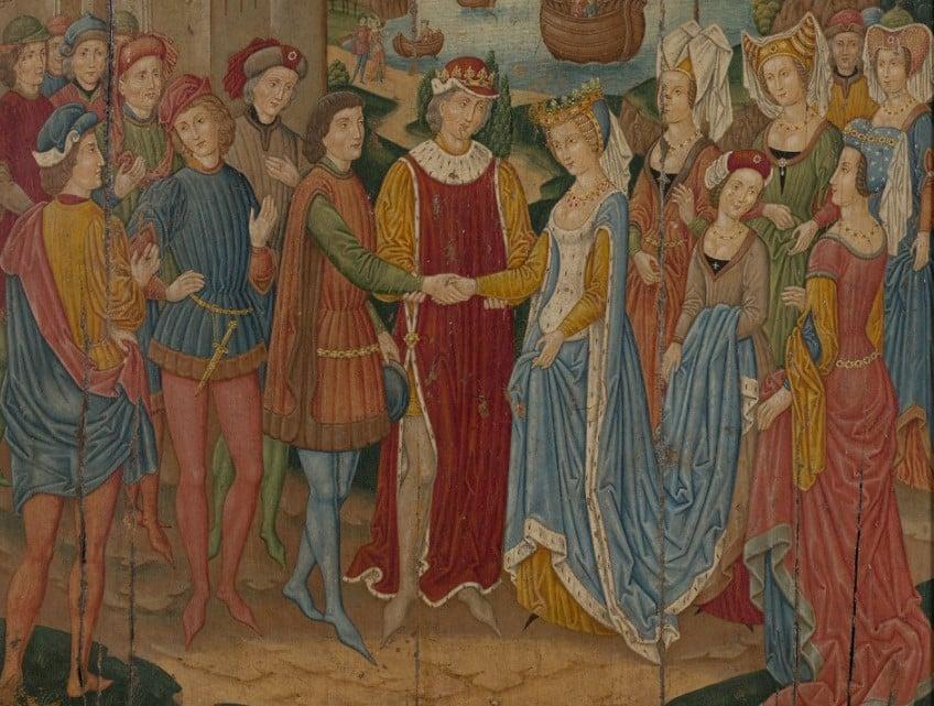 Uma pintura com diversas pessoas vestidas com traje gótico medieval, entre um casal no centro e diversos homens e mulheres