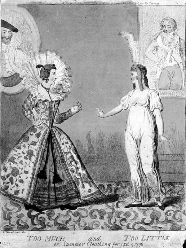Desenho de 1796 satirizando o contraste entre a roupa do século XVI e do final do século XVIII com a moda império.