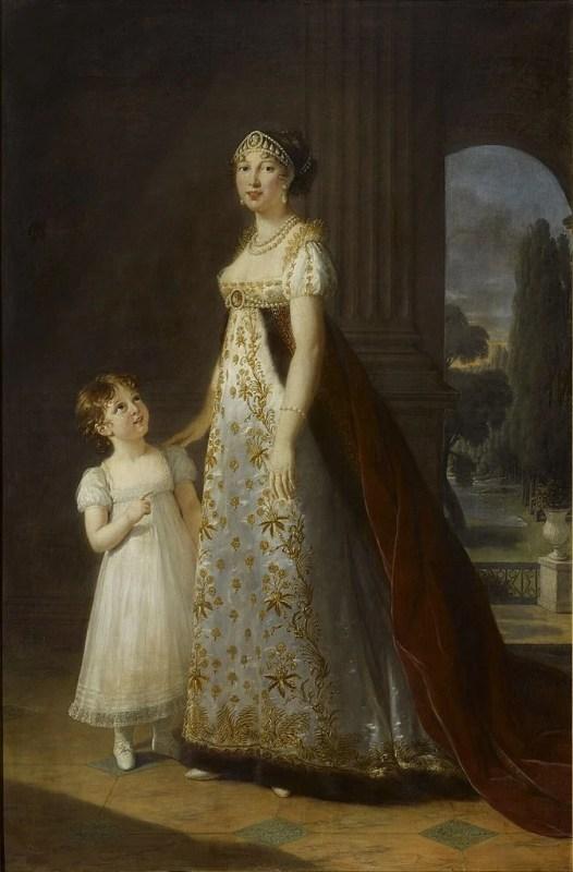 Caroline Bonaparte, rainha de Nápoles, com a sua filha, de 1807. Ambas vestidas com a moda império.
