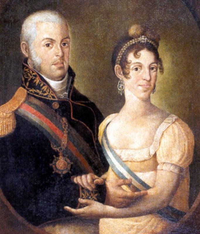 Dom João VI e Dona Carlota Joaquina, reis de Portugal, de 1815.