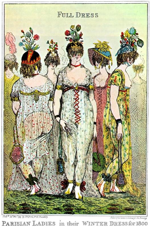 """Desenho satirizando a moda império das mulheres de Paris, onde se lê """"vestido completo para o inverno de 1800, de 1799."""
