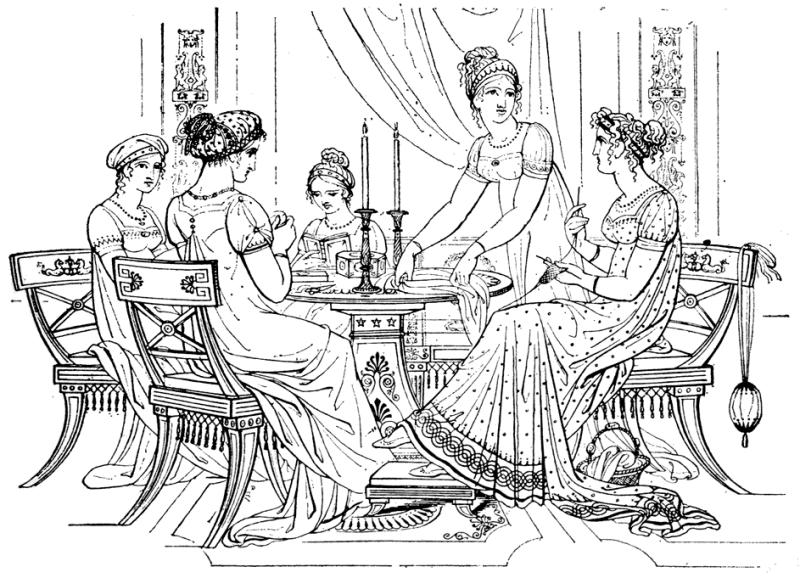 Desenho de jovens com a moda império no tempo da regência.