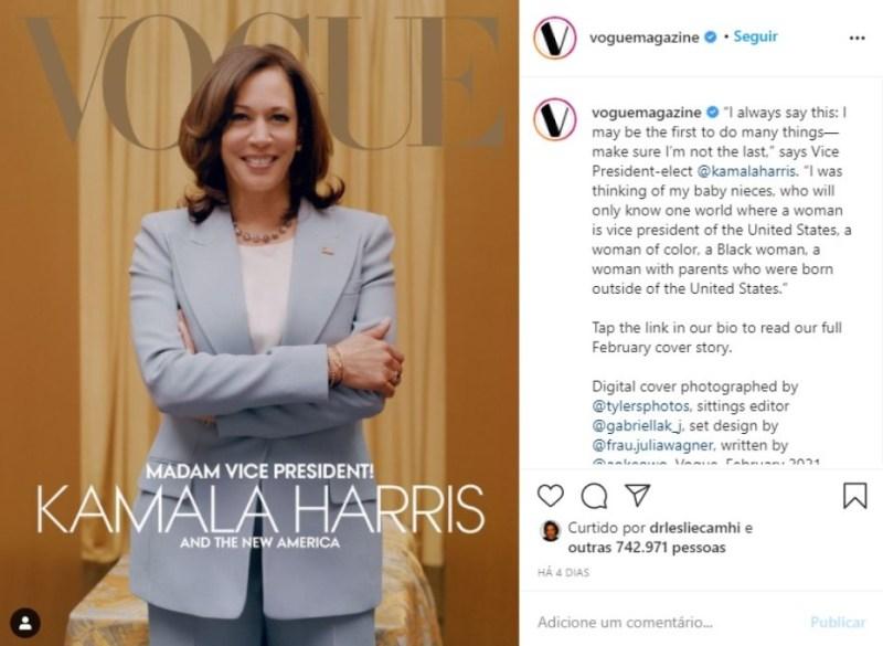 Capa da edição digital da Vogue com Kamala Harris.