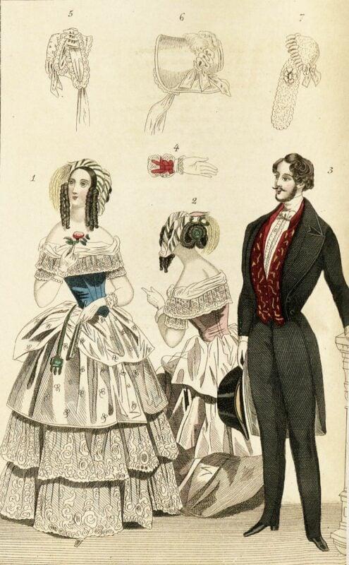 Desenho de 1844 ilustrando roupas da moda para homens e mulheres
