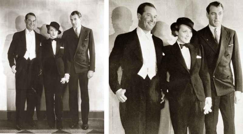 """Marlene Dietrich vestida com terninho feminino no lançamento do filme """"Sign of the Cross"""" em 1932."""