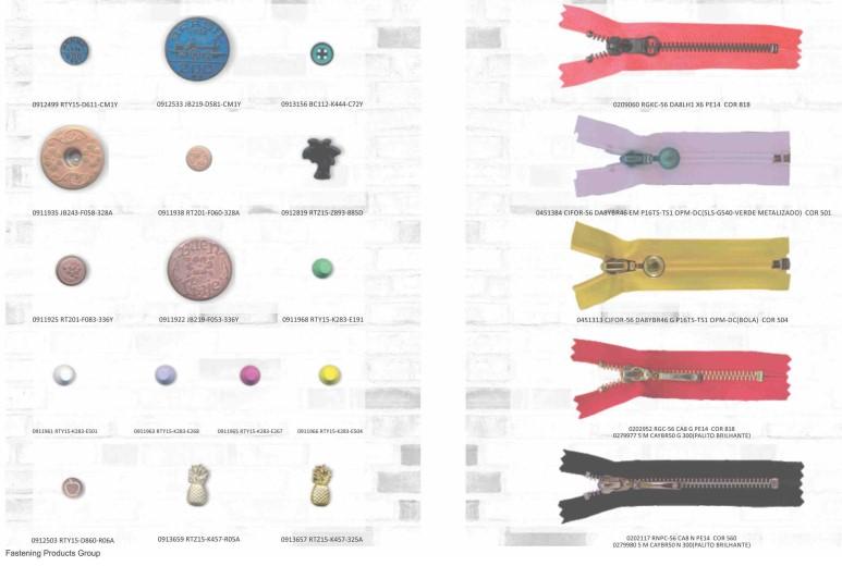 Imagem do catálogo da YKK com diferentes modelos de zíper coloridos