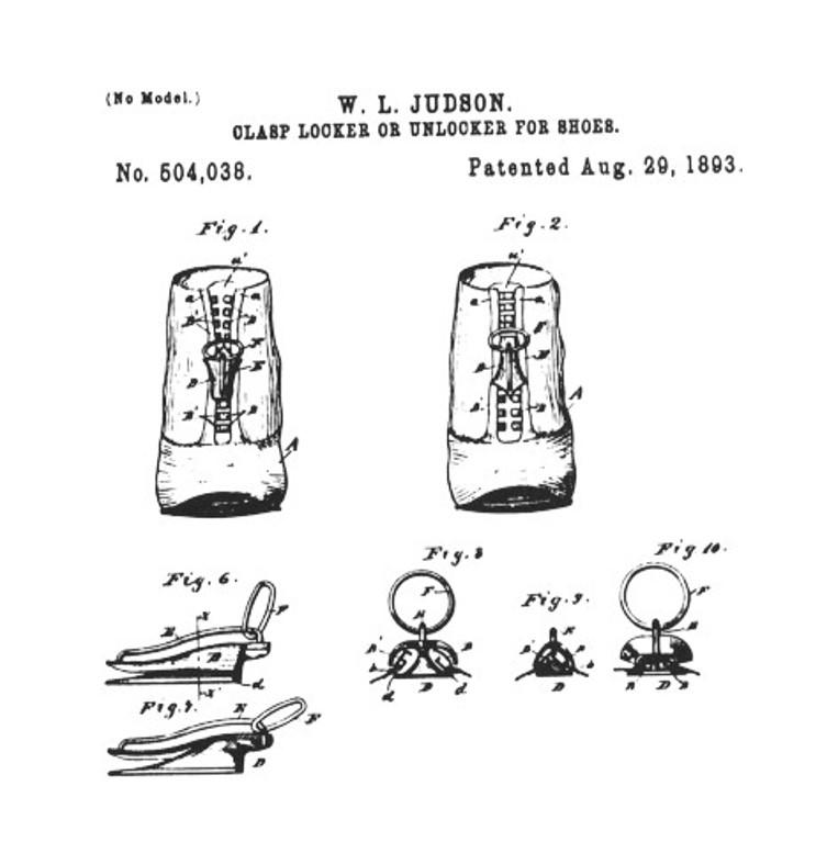 Ilustração de um calçado com zíper da patente do Clasp Locker de Whitcomb Judson de 1893