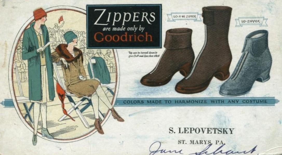 Publicidade dos sapados Goodrich com zíper, dos anos 20