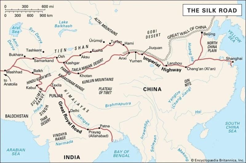 """Mapa da """"Rota da Seda"""" na Ásia."""