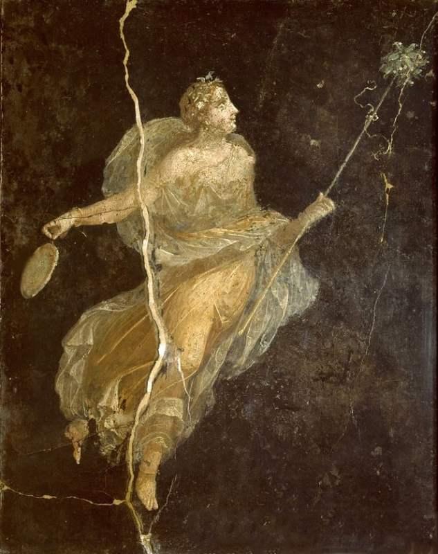 Afresco encontrado em Pompéia de uma figura vestida em seda, século I.