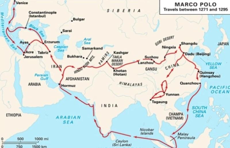 Roteiro da viagem de Marco Polo.