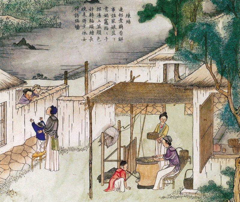 Ilustração chinesa de mulheres produzindo a seda.