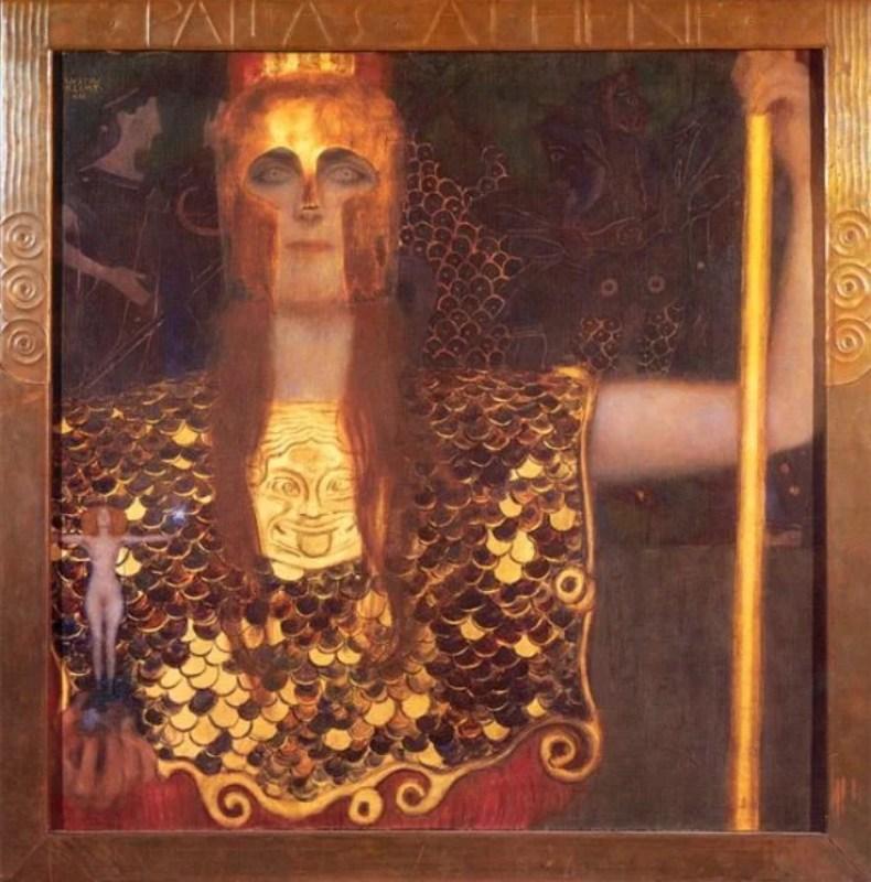Pintura Art Noveuau ´Palas Atenea`, de Gustav Klimt.