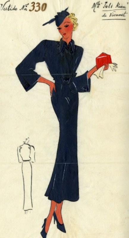 Ilustração de um vestido de Madeleine Vionnet, 1932-1934. Crédito: Museo del Traje de Barcelona.