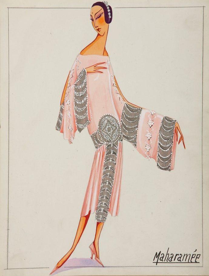 Croqui do vestido Maharamee de Jeanne Lanvin, 1925.