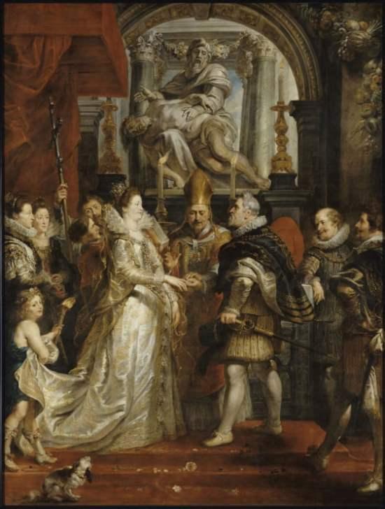 O casamento por procuração de Maria de Médici e Henrique VI, com um vestido de noiva branco.