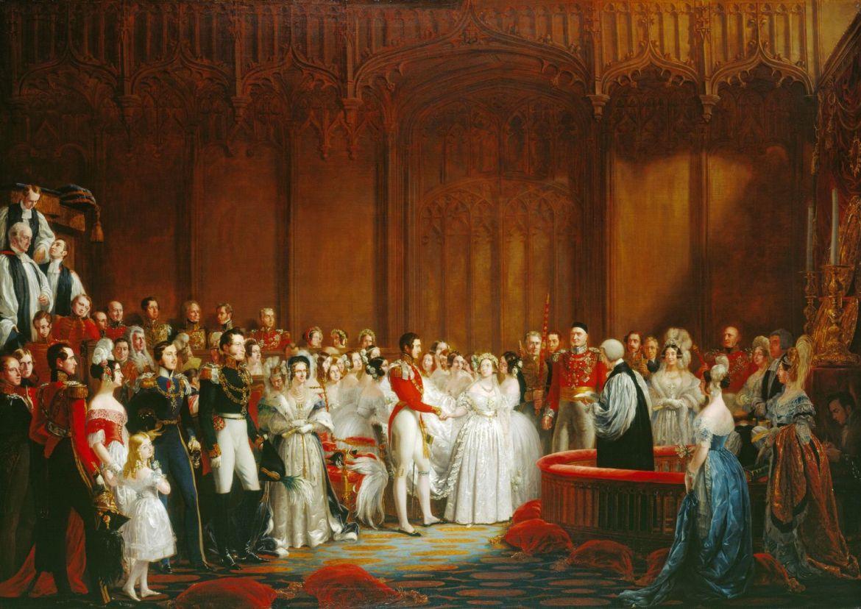 O casamento da Rainha Vitória em 1840, com um vestido de noiva branco.
