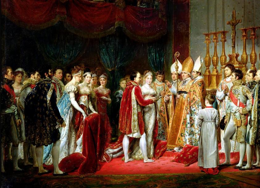 Casamento de Napoleão I com Maria Luisa de Austria, com um vestido de noiva branco.