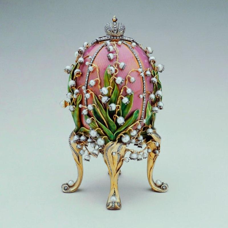 """""""Ovo dos lírios do vale"""" de Fabergé, 1898. Ovo de Páscoa de luxo."""