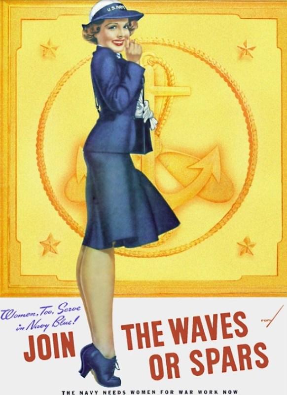 """Poster com ilustração pin-up de George Petty """"Waves or Spars"""", de 1942."""