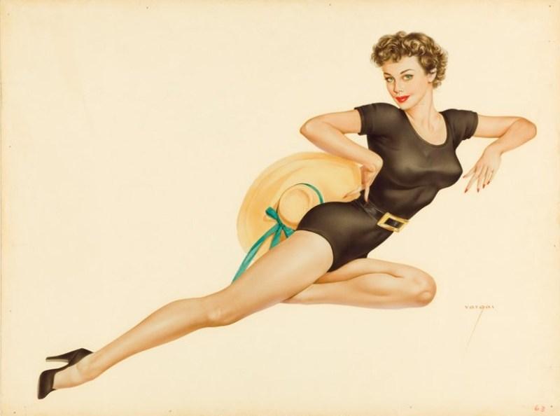 """Ilustração pin-up de uma """"Vargas Girls"""", de Alberto Vargas."""
