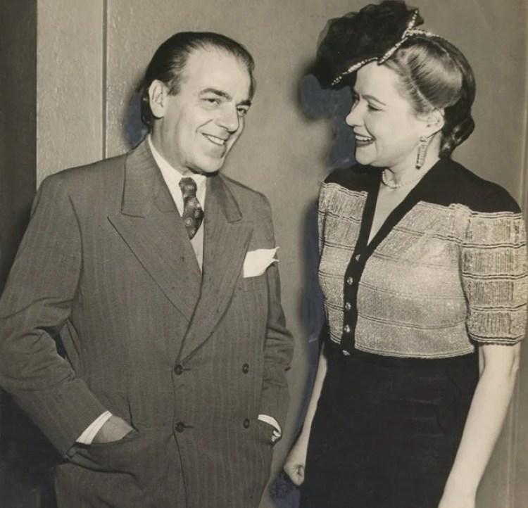 Villa Lobos e mulher com a moda dos anos 40