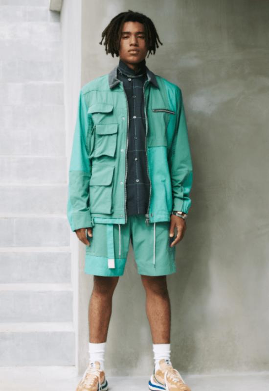 Conjunto masculino de jaqueta e bermuda menta com camisa xadrez