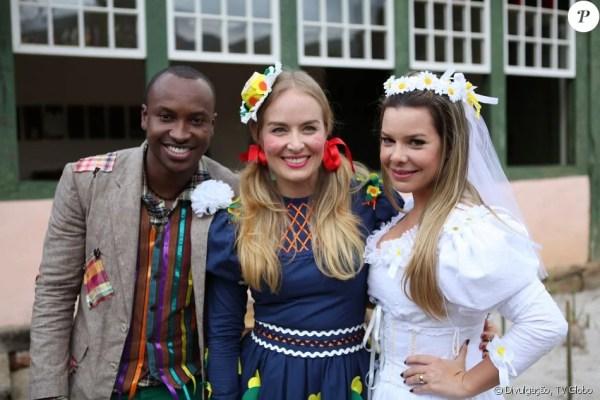 Trajes de festa junina Thiaguinho, Angélica e Fernanda Souza