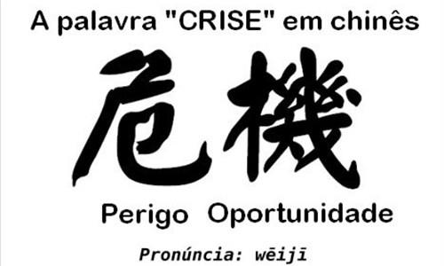a palavra crise em chines - Transforme crise em oportunidade