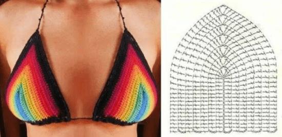 Top cortininha triângulo multicolorido de crochê com gráfico