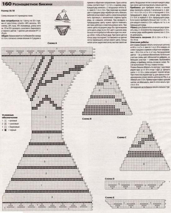 Calcinha gráfico assimétrico para biquínis de crochê