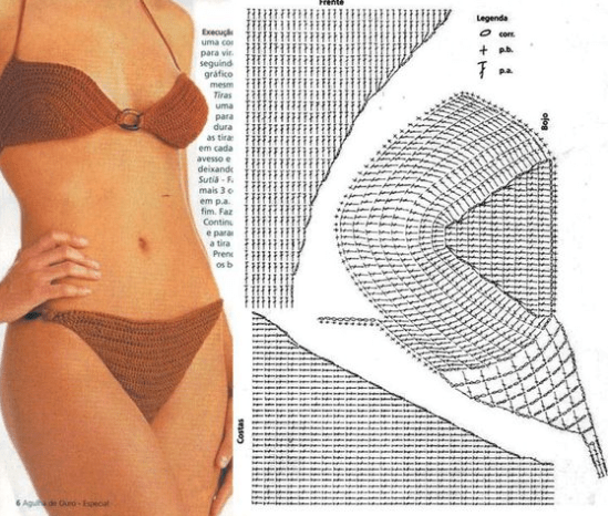 Gráfico para biquínis retrô de crochê