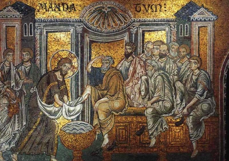 Lava-pés. Mosaico na Catedral de Monreale.