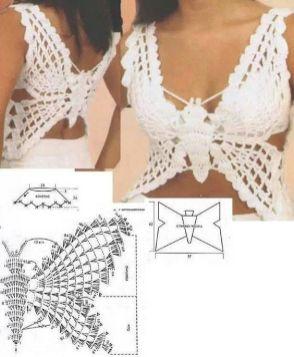Crochet top pattern borboleta