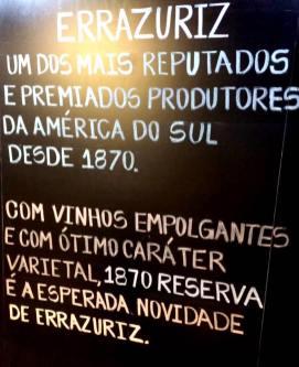 Degustação de vinhos - linha Errazuriz 1870