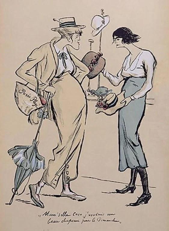 Caricatura de Coco Chanel com chapéus