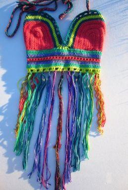 top crochê colorido