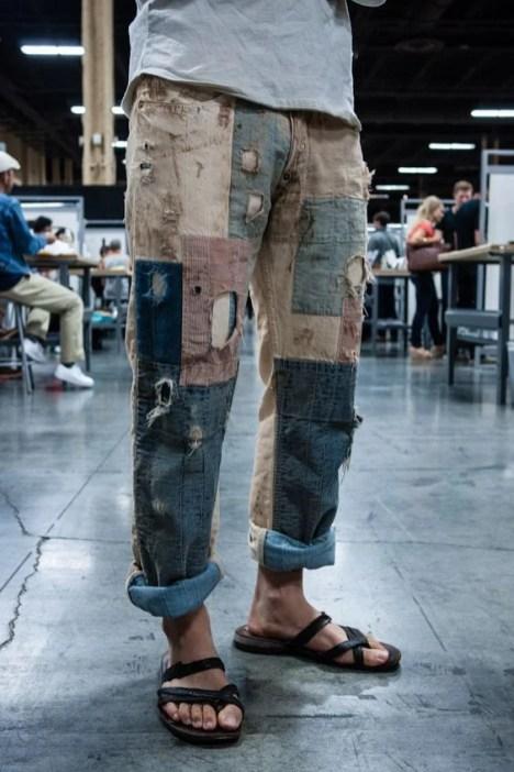 Patchwork jeans calça retalhos
