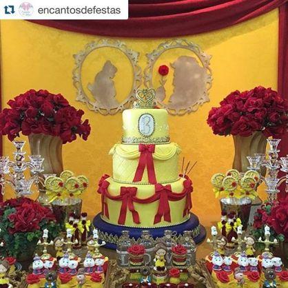 decoração de festa inspirada no filme a bela e a fera