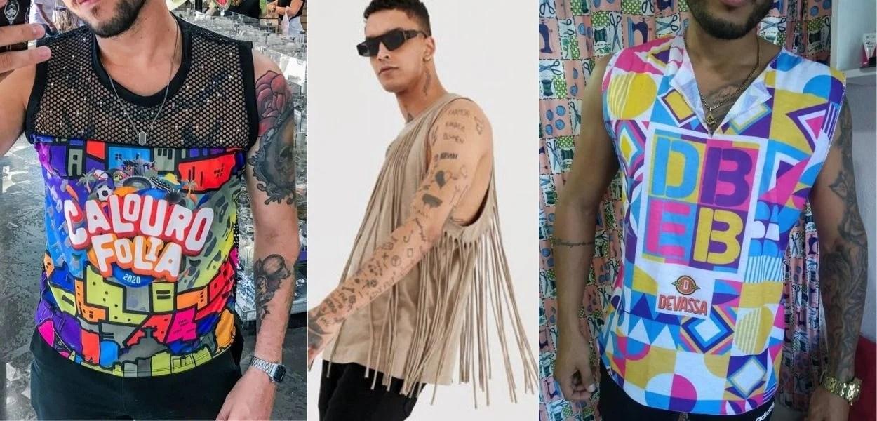 três fotos de homens usando abadás masculinos customizados