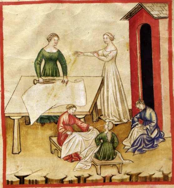 Ilustração medieval de mulheres manuseando tecidos