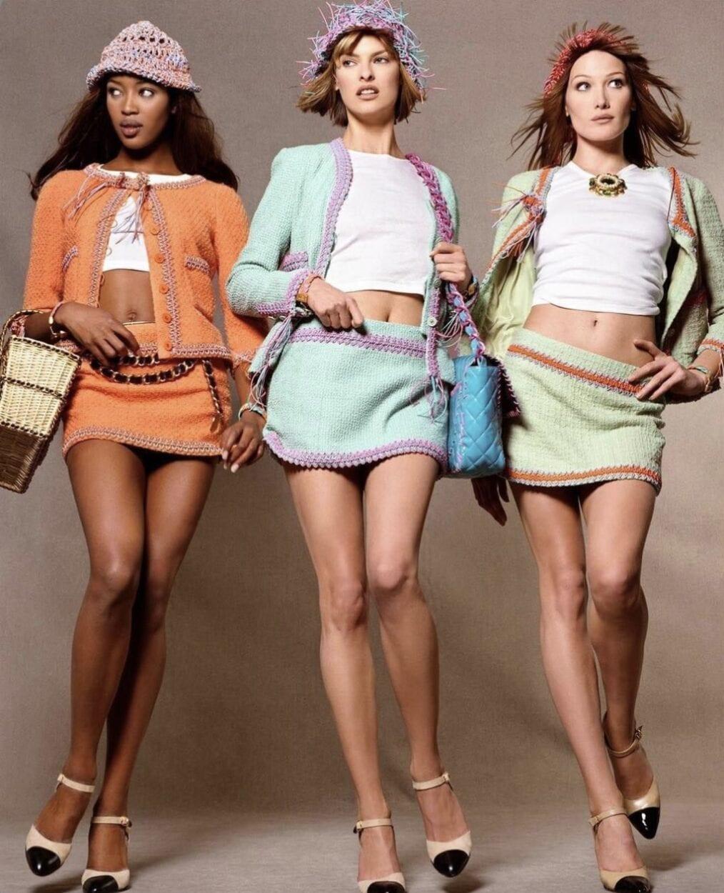 modelos Naomi Campbell e Linda Evangelista
