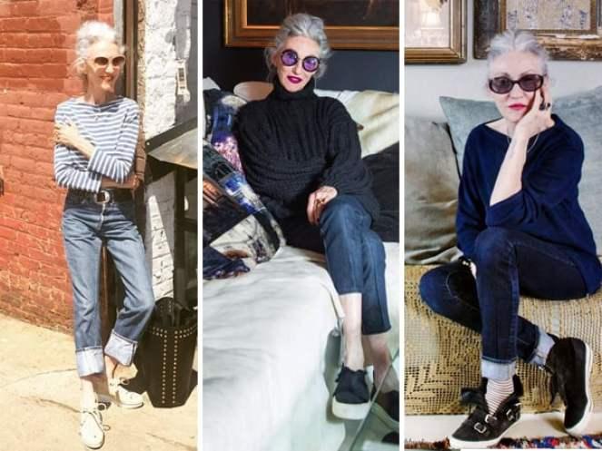Looks da modelo madura Linda Rodin usando calça jeans e tênis