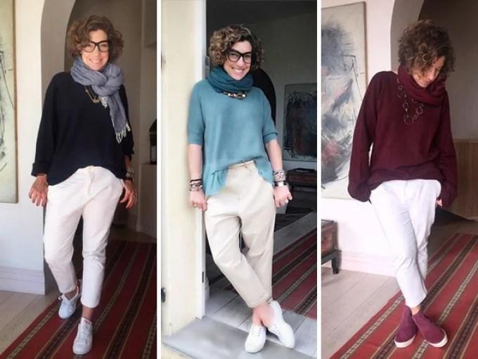 Consuelo Blocker usando looks com calça branca e tênis