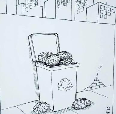 """exposição de cartoons """"Construindo a cidade MIL"""" do prof. Dorinho Bastos do CEACOM da ECA-USP 987"""