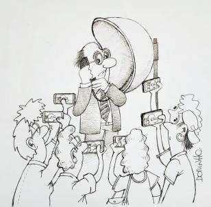 """exposição de cartoons """"Construindo a cidade MIL"""" do prof. Dorinho Bastos do CEACOM da ECA-USP - Orelhão"""
