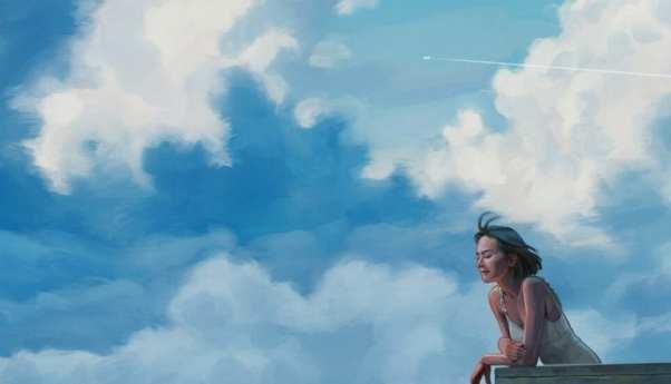 Vogue espanha ilustra uma mulher sozinha com um céu azul de fundo
