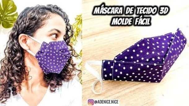 Máscara de proteção de tecido em formato 3D