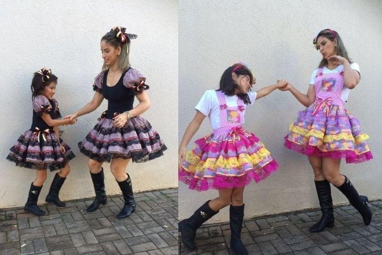 trajes de festa junina mãe e filha